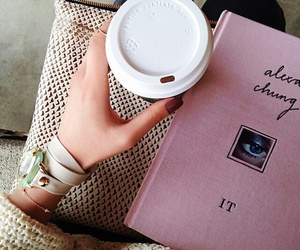 coffee, book, and pink image