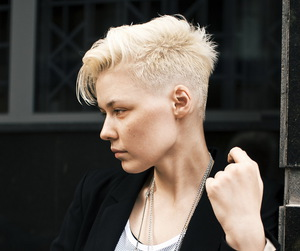 androgynous, bleached hair, and short hair image