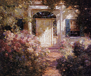 background, flowers, and house image