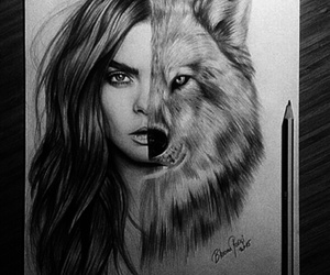 art, wolf, and draw image