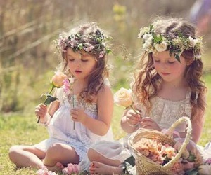 girl, flowers, and kids image