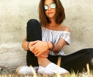 glasses, short hair, and lucy hale image