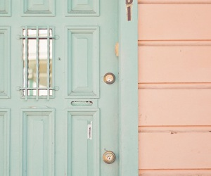 pastel, door, and pink image