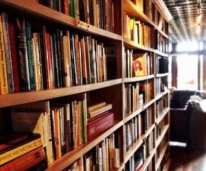 autumn, bookcase, and books image
