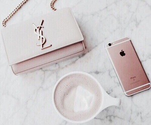 iphone, pink, and coffee image