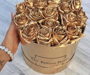flowers, gold, and style image