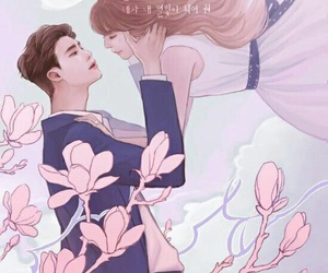 w two worlds, couple, and kdrama image
