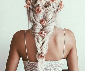 flowers, hair, and party image