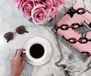 coffee, rayban, and roses image