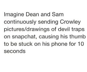 crowley, dean, and demon image