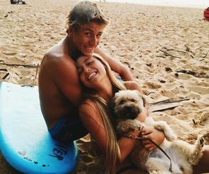 couple, beach, and dog image