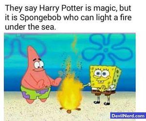 spongebob, fire, and harry potter image