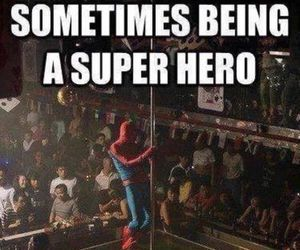 funny, spiderman, and stripper image