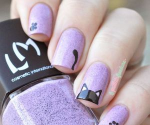 nails, cat, and purple image