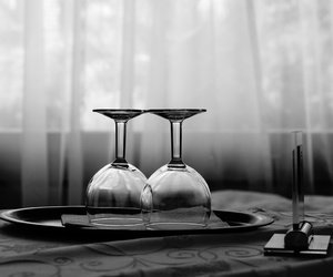 wine, black and white, and glass image