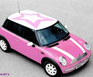 mini cooper, car, and pink image