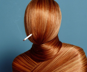 hair, cigarette, and smoke image