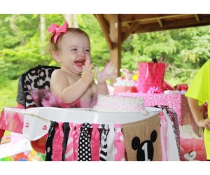 baby, baby girl, and birthday cake image
