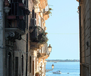 sea, italy, and street image