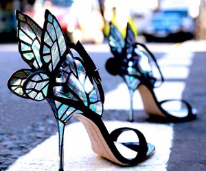 shoes, butterfly, and heels image