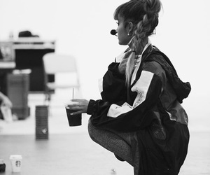 black and white, dangerous woman, and ariana grande image