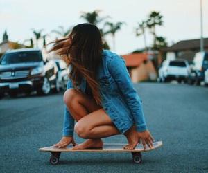 girl, skate, and skateboard image