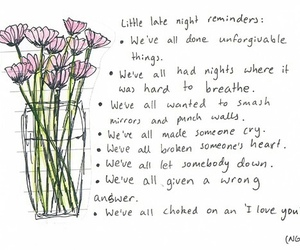 quotes, flowers, and night image