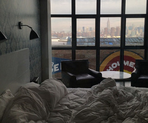 bed, bedroom, and cities image