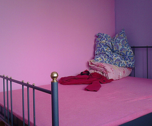 bed, pink, and decor image