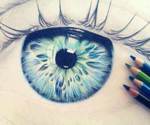 eye, drawing, and blue image