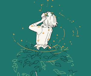 girl, art, and green image