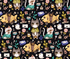 cat, fish, and pattern image