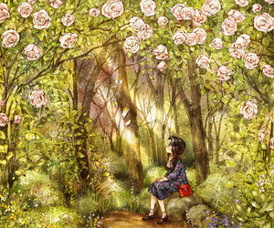 flower, forest, and girl image