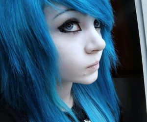 blue hair, blue, and emo image