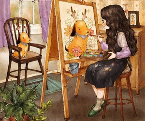 girl, painting, and aeppol image