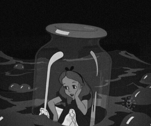 alice in wonderland and black and white image