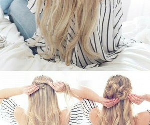 hair, tutorial, and half up messy buns image