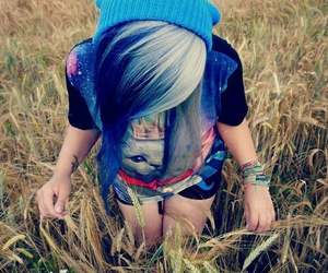 hair, blue, and emo image