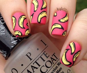 nails, banana, and nail art image