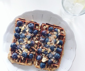 blueberries, food, and waffles image
