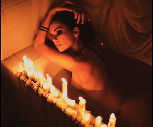 candles and girl image
