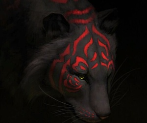 tiger, art, and red image