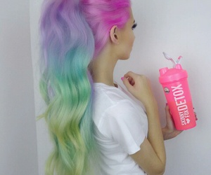 beautiful, girl, and rainbow image