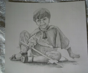black and white, drawing, and child image