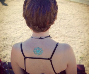 back tattoo, braids, and festival image