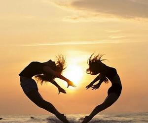 dance, heart, and sun image