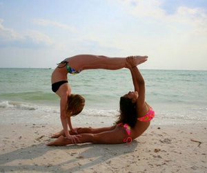 beach, girls, and gymnastic image