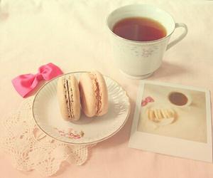 tea, macaroons, and pink image