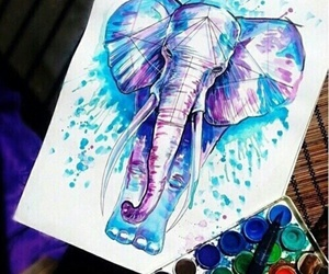 beautifull, drawings, and elephants image