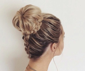 blonde, hair, and chignon image